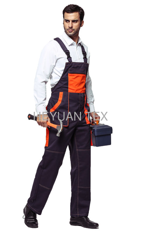 Mens Workwear Clothing Bib Work Pants / 100% Cotton Bib & Brace Overalls