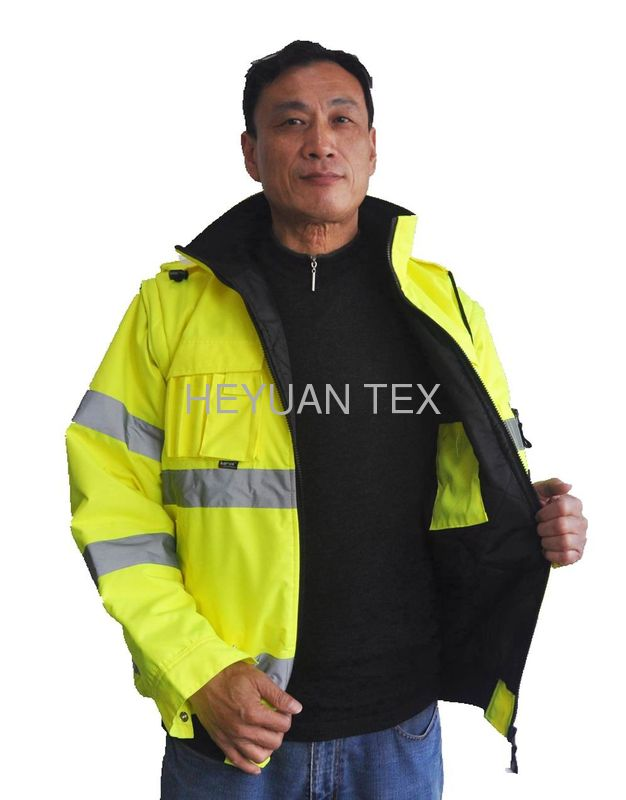 300D Oxford Safety Short  Hi Vis Winter Workwear Jackets With Detachable Sleeves